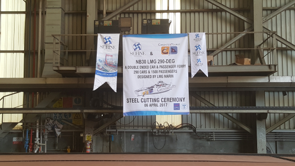 Steel cutting ceremony of the LMG 290-DEG for Caronte & Tourist